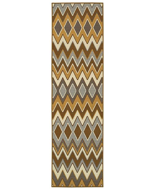 """Oriental Weavers Bali 1732D Gray/Gold 7'10"""" x 7'10"""" Indoor/Outdoor Runner Area Rug"""