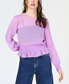 Bar III Smocked-Waist Long-Sleeve Blouse, Created for Macy's