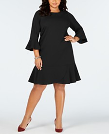 ECI Plus Size Bell-Sleeve A-Line Dress