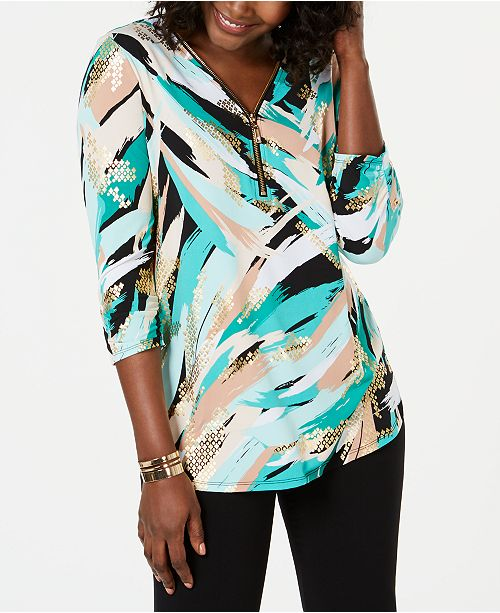 JM Collection Petite Metallic-Print Top, Created for Macy's
