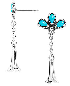 American West Sleeping Beauty Turquoise Squash Blossom Earrings in Sterling Silver