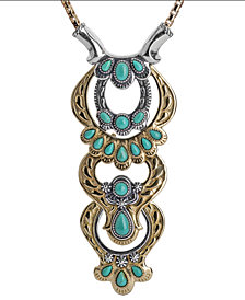 American West Two-Tone Green Turquoise Statement Necklace