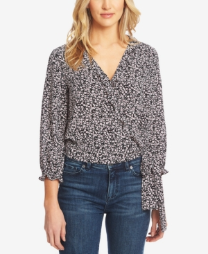 1.state Tops FLORAL-PRINT WRAP RUFFLE TOP