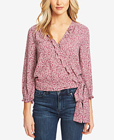 1.STATE Floral-Print Wrap Ruffle Top