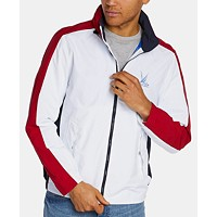 Nautica Mens Blue Sail Colorblocked Windbreaker