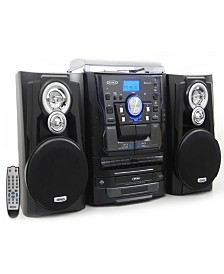 Bluetooth 3-Speed Stereo Turntable 3 CD Changer Music System with Dual Cassette Deck and Remote Control