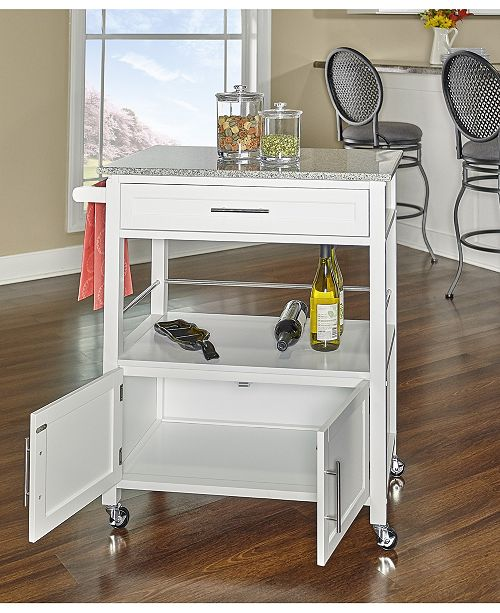 Cameron Kitchen Cart With Granite Top White