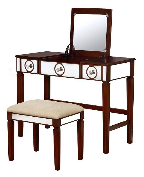 Linon Home Décor Madison Vanity Set With Bench And Mirror