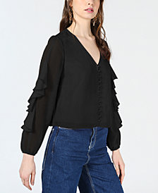 Bar III Ruffle-Sleeve Button-Up Top, Created for Macy's