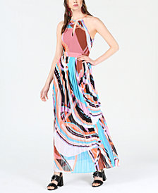 Bar III Printed Halter-Neck Maxi Dress, Created for Macy's