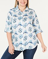 6505198630f Charter Club Plus Size Linen Floral Roll-Tab Button-Up Shirt