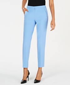 Kasper Crepe Slim Straight-Leg Pants