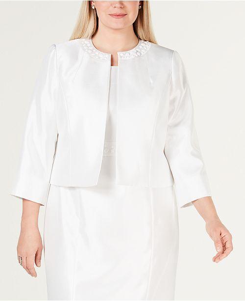 Kasper Plus Size Embellished-Neck Collarless Jacket