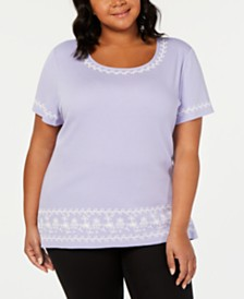 Karen Scott Plus Size Puff Striped Top, Created for Macy's