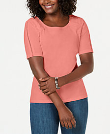 Karen Scott Cotton Lace-Appliqué T-Shirt, Created for Macy's