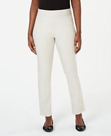 Karen Scott Petite Flat-Front Pull-On Pants, Created for Macy's