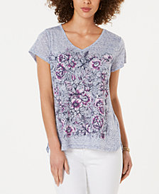 Style & Co Petite V-Neck Floral-Graphic T-Shirt, Created for Macy's