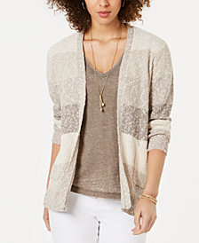 Style & Co Petite Block-Striped Cardigan, Created for Macy's