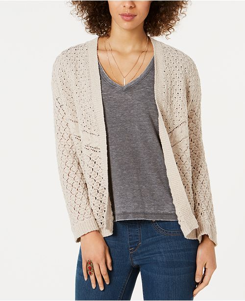 Style & Co Petite Drop-Shoulder Mixed-Stitch Cardigan, Created for Macy's