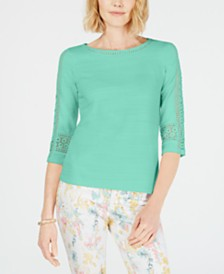 Charter Club Petite Crochet-Sleeve Top, Created for Macy's