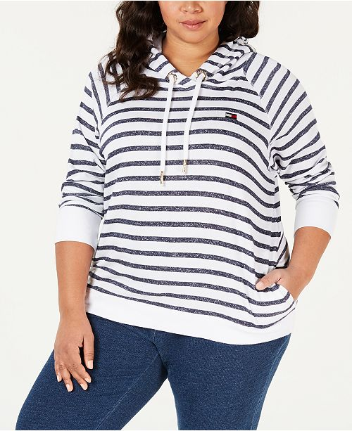 Tommy Hilfiger Plus Size Striped Pullover Hoodie