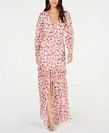Rachel Zoe Yvonne Ruffled Lip-Print Gown