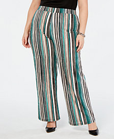 JM Collection Plus Size Striped Wide-Leg Pants, Created for Macy's