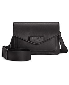 DKNY Sullivan Leather Flap Crossbody, Created for Macy's