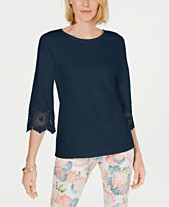 412cff348999fc Charter Club Cotton Lace-Trim Top, Created for Macy's
