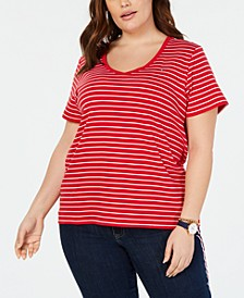 Plus Size Cotton Striped T-Shirt, Created for Macy's