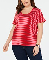 c84b6674c051a Tommy Hilfiger Plus Size Cotton Striped T-Shirt