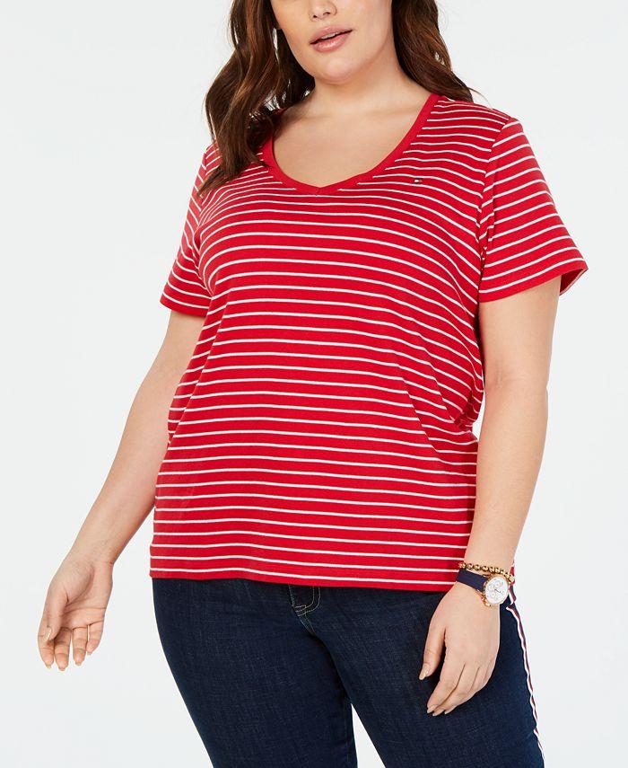 Tommy Hilfiger - Plus Size Cotton Striped T-Shirt