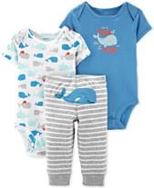 Carter s Baby Boys 3-Pc. Whale Bodysuits   Striped Pants Set a725e9705a5