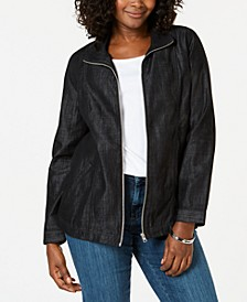 Petite Zip-Front Jean Jacket, Created for Macy's
