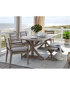 "Hadley Outdoor 7-Pc. Dining Set (84"" x 42"" Dining Farm Table & 6 Arm Chairs) with Sunbrella® Cushions, Created For Macy's"