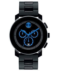 Movado Men's Swiss Chronograph Bold Large Black Polyurethane Bracelet Watch 44mm 3600101