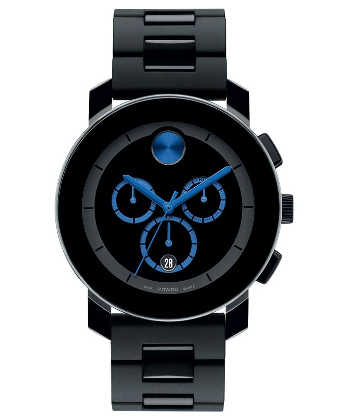 Movado - Men's Swiss Chronograph Bold Large Black Polyurethane Bracelet Watch 44mm 3600101