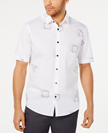 Alfani Men's Stretch Geometric Print Shirt, Created for Macy's