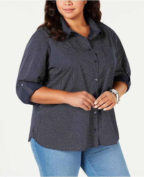 Tommy Hilfiger Plus Size Roll-Tab Button-Up Shirt, Created for Macy's