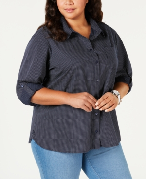 10f9236a Tommy Hilfiger Plus Size Roll-Tab Button-Up Shirt, Created For Macy'S In