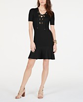 46db9f2c62e MICHAEL Michael Kors Lace-Up Ribbed-Knit Sweater Dress