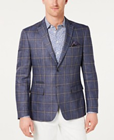 Tallia Men's Slim-Fit Linen Windowpane Sport Coat