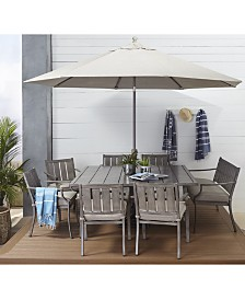"Wayland Outdoor Aluminum 7-Pc. Dining Set (84"" x 42"" Rectangle Dining Table & 6 Dining Chairs) with Sunbrella® Cushions, Created for Macy's"