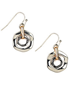 Nine West Earrings, Tri Tone Orbital Fish Hook Earrings