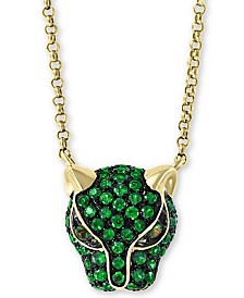 "EFFY Emerald (1/2 ct.t.w.) and Tsavorite Accent Panther 18"" Pendant in 14K Yellow Gold (Also Available In Certified Ruby)"