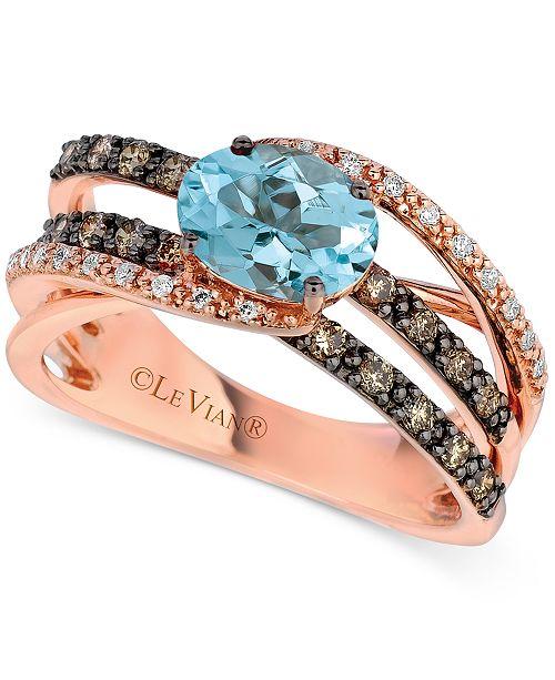 Le Vian Aquamarine (9/10 ct. t.w.) & Diamond (1/2 ct. t.w.) Ring in 14k Rose Gold