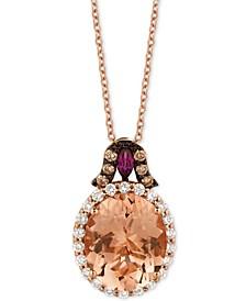 "Multi-Gemstone (3-7/8 ct. t.w.) & Diamond (3/8 ct. t.w.) 18"" Pendant Necklace in 14k Rose Gold"