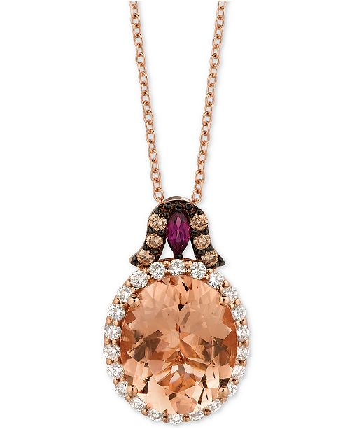 "Le Vian Multi-Gemstone (3-7/8 ct. t.w.) & Diamond (3/8 ct. t.w.) 18"" Pendant Necklace in 14k Rose Gold"