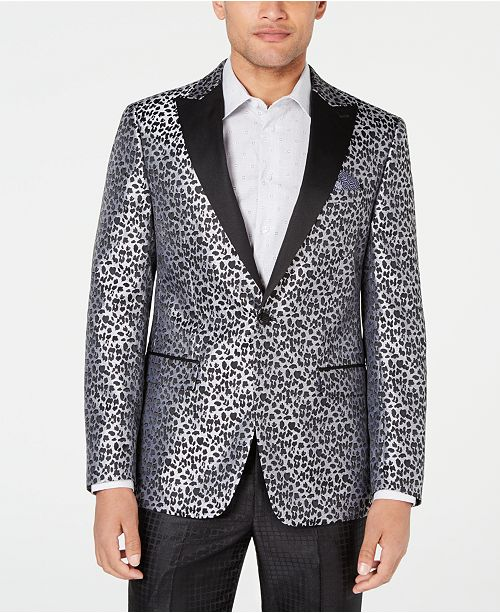 Tallia Men's Slim-Fit Leopard Print Dinner Jacket