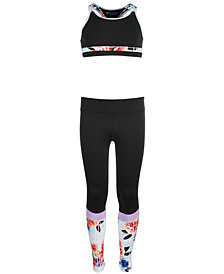 Ideology Big Girls Printed-Trim Sports Bra & Colorblocked Leggings, Created for Macy's